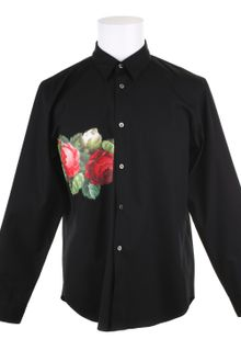 Comme Des Garçons Cotton Shirt with A Red Of Yellow Rose Pattern On Front - Lyst