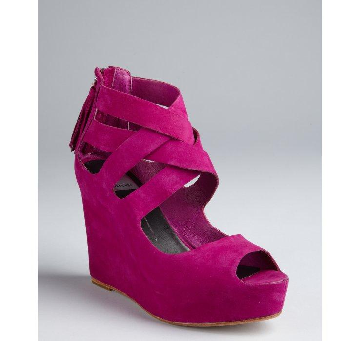 Lyst Dolce Vita Magenta Suede Jade Crisscross Wedges In Pink