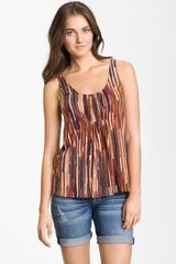 Lucky Brand Santa Fe Stripe Pleated Tank - Lyst