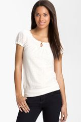 Lucky Brand Mena Lace Peasant Top - Lyst