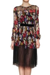 Luisa Beccaria Pleated Silk Chiffon Dress - Lyst