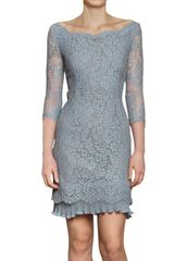 Luisa Beccaria Flower Lace with Chiffon Plissé Dress - Lyst