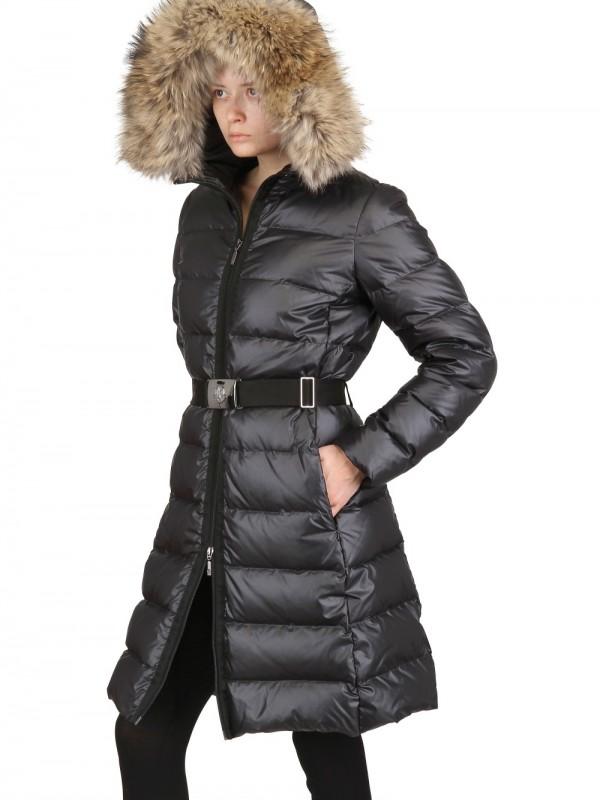 Lyst Moncler Nantes Fur Hood Belted Matt Nylon Jacket In Black