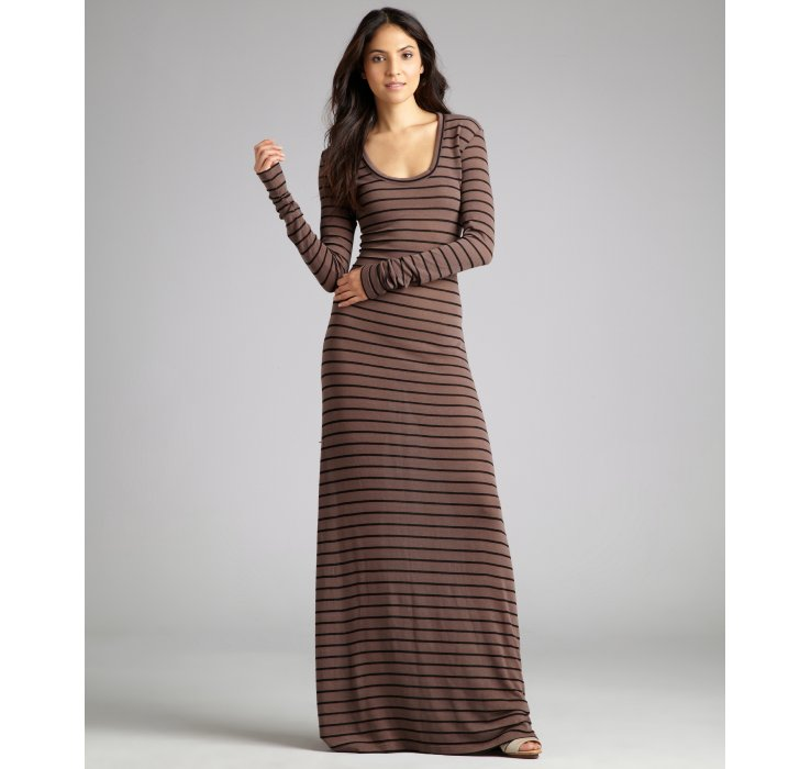 Saint Grace Taupe Striped Long Sleeve Knit Maxi Dress In