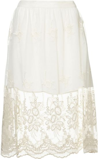 Topshop Cream Embroidered Lace Skirt - Lyst