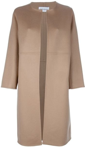 Saint Laurent Cashmere Coat in Beige - Lyst