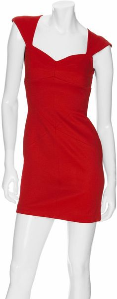 Zac Posen Bonded Seam Jersey Dress in Red (poppy) - Lyst
