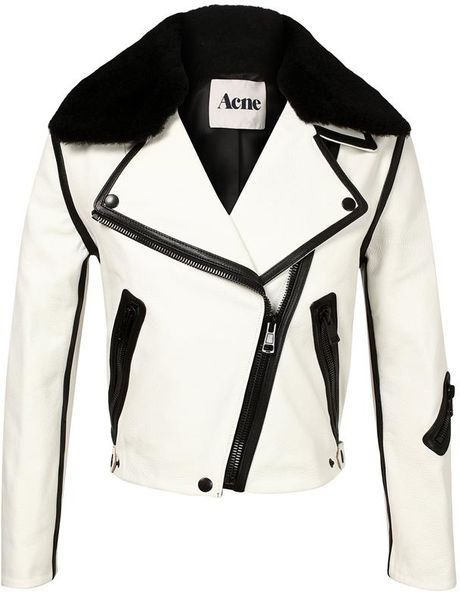 Acne Studios Rita Leather and Shearling Jacket in Beige (black white)