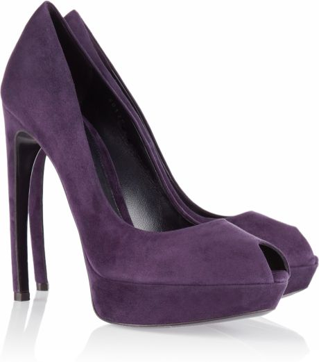 Alexander Mcqueen Suede Peep Toe Pumps in Purple (aubergine) - Lyst