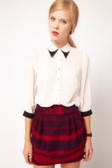 ASOS Collection  Blouse with Double Collar - Lyst