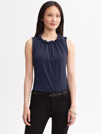 Banana Republic Ruffleneck Blouse - Lyst
