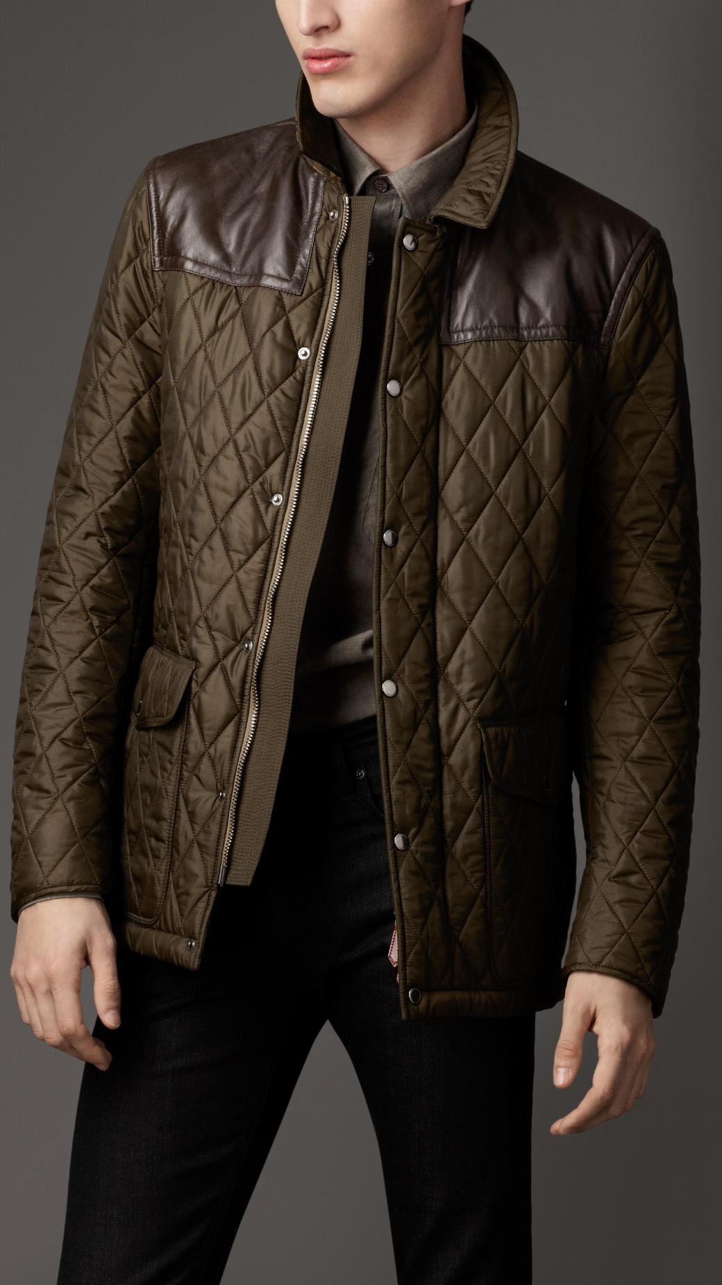 Lyst - Burberry Leather Panel Quilted Jacket in Green for Men