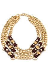 Fallon Jewelry Leather Stud Bib Necklace - Lyst