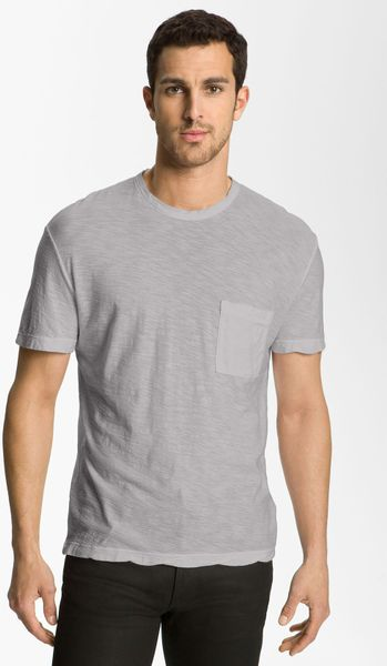 James perse classic crewneck pocket tshirt in gray for men for James perse t shirts sale