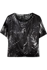 McQ by Alexander McQueen Printed Stretchsilk Satin Top - Lyst