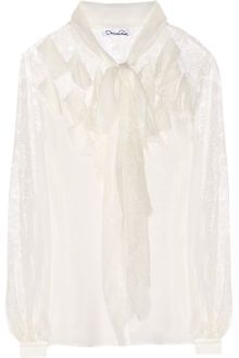 Oscar de la Renta Chantilly Lace and Silkchiffon Blouse - Lyst