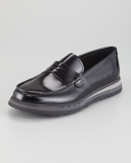 Prada Spazzolato Rubbersole Loafer in Black for Men - Lyst