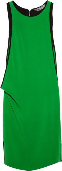 Reed Krakoff Draped Silk Blend Crepe Dress in Green - Lyst
