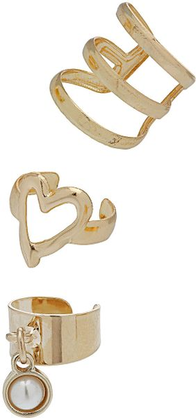 Topshop Heart and Pearl Ear Cuff Pack in Gold (cream) - Lyst
