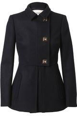 Valentino Fleece Wool Pea Coat in Blue (navy) - Lyst