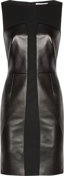 Yves Saint Laurent Leather and Stretchwool Crepe Dress - Lyst