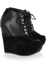 Yves Saint Laurent Leather and Suede Wedge Ankle Boots - Lyst