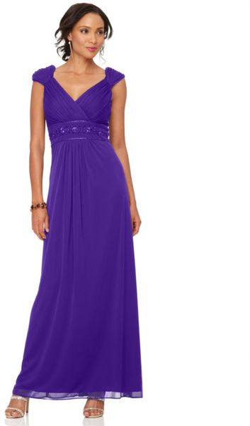 Alex Evenings Cap Sleeve Empire Waist Beaded Evening Gown