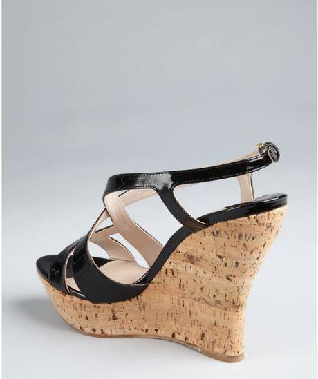 miu miu black patent leather cork wedge sandals in black