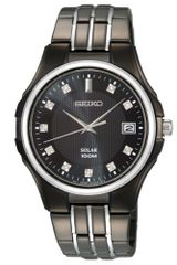 Seiko Diamond Accent Black Ion Plated Stainless Steel Bracelet Watch - Lyst