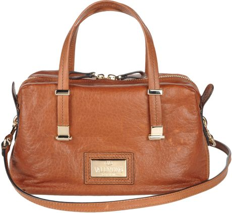 Valentino Medium Leather Bag in Brown - Lyst