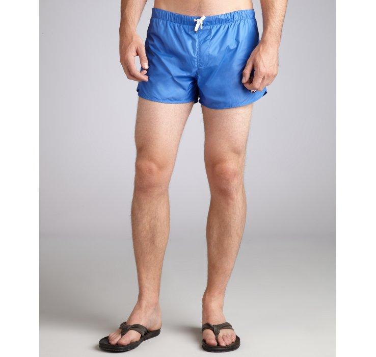 gucci pacific blue nylon swim trunks in blue for men lyst