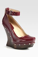 McQ by Alexander McQueen Patent Leather Studded Ankle Strap Wedges