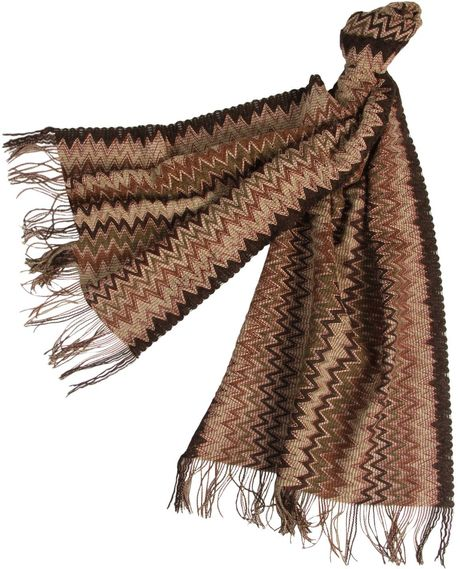 Missoni Oblong Scarf in Brown (beige) - Lyst