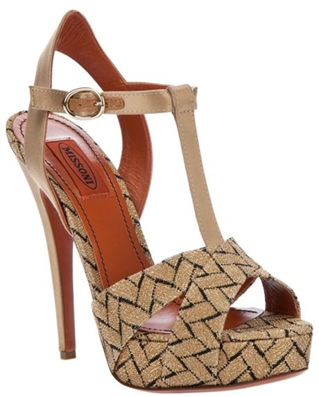 Missoni Tbar Sandals in Beige (nude) - Lyst