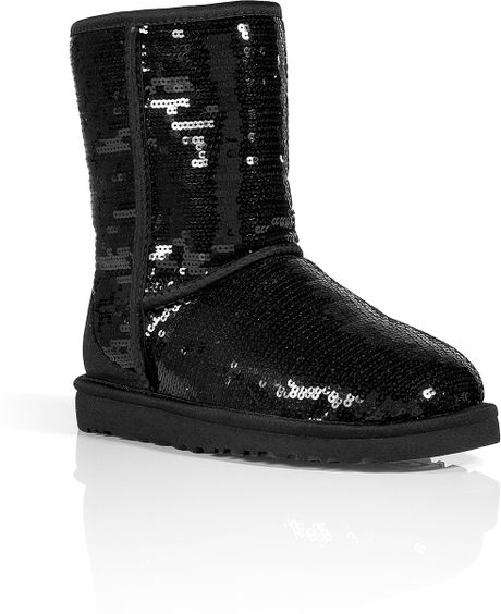 ugg black sequin classic sparkles boots in black lyst