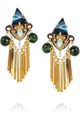Erickson Beamon Goldplated Swarovski Crystal and Ruby Zoite Earrings