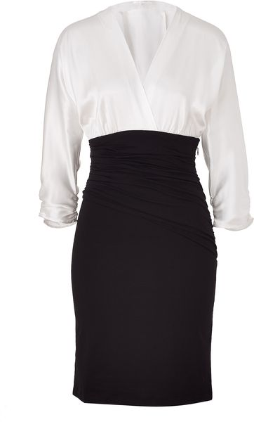 Paule Ka Whiteblack Draped Combo Dress in Black (white)