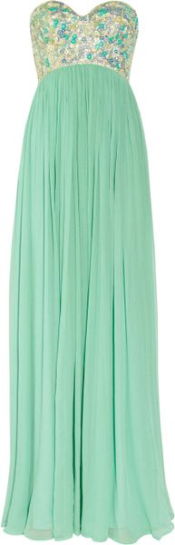 Rachel Gilbert Sonya Sequined Bodice Silk Crepe Gown in Green (mint) - Lyst