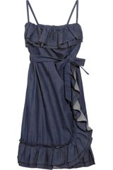 RED Valentino Ruffled Stretch Denim Dress - Lyst