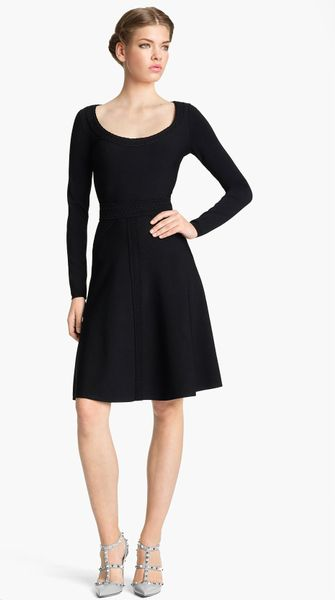 Valentino Stretch Knit Dress in Black - Lyst