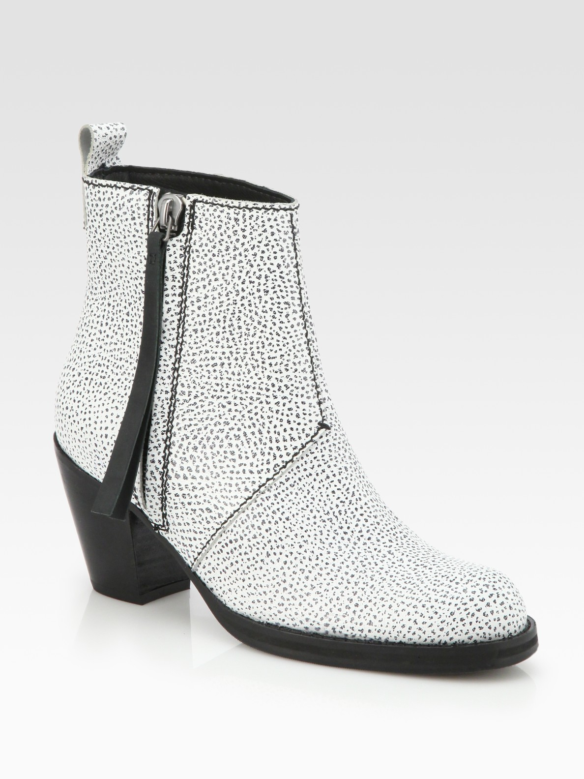 Acne Pistol Speckled Leather Ankle Boots in Natural | Lyst