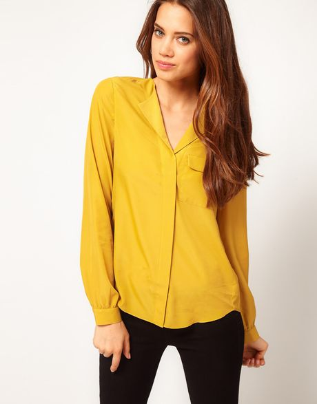 Asos Collection Blouse with Drop Collar in Yellow (olive) - Lyst