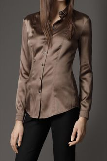 Burberry Slim Fit Stretch Silk Shirt - Lyst