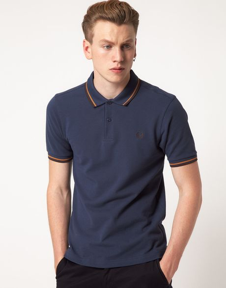 fred perry polo slim fit twin tipped in blue for men lyst. Black Bedroom Furniture Sets. Home Design Ideas