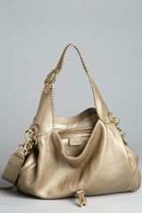 Gucci  Leather New Jackie Tassel Hobo in Gold - Lyst