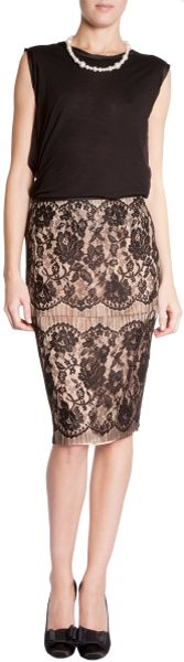 Lanvin Lace Pencil Skirt in Brown (floral) - Lyst