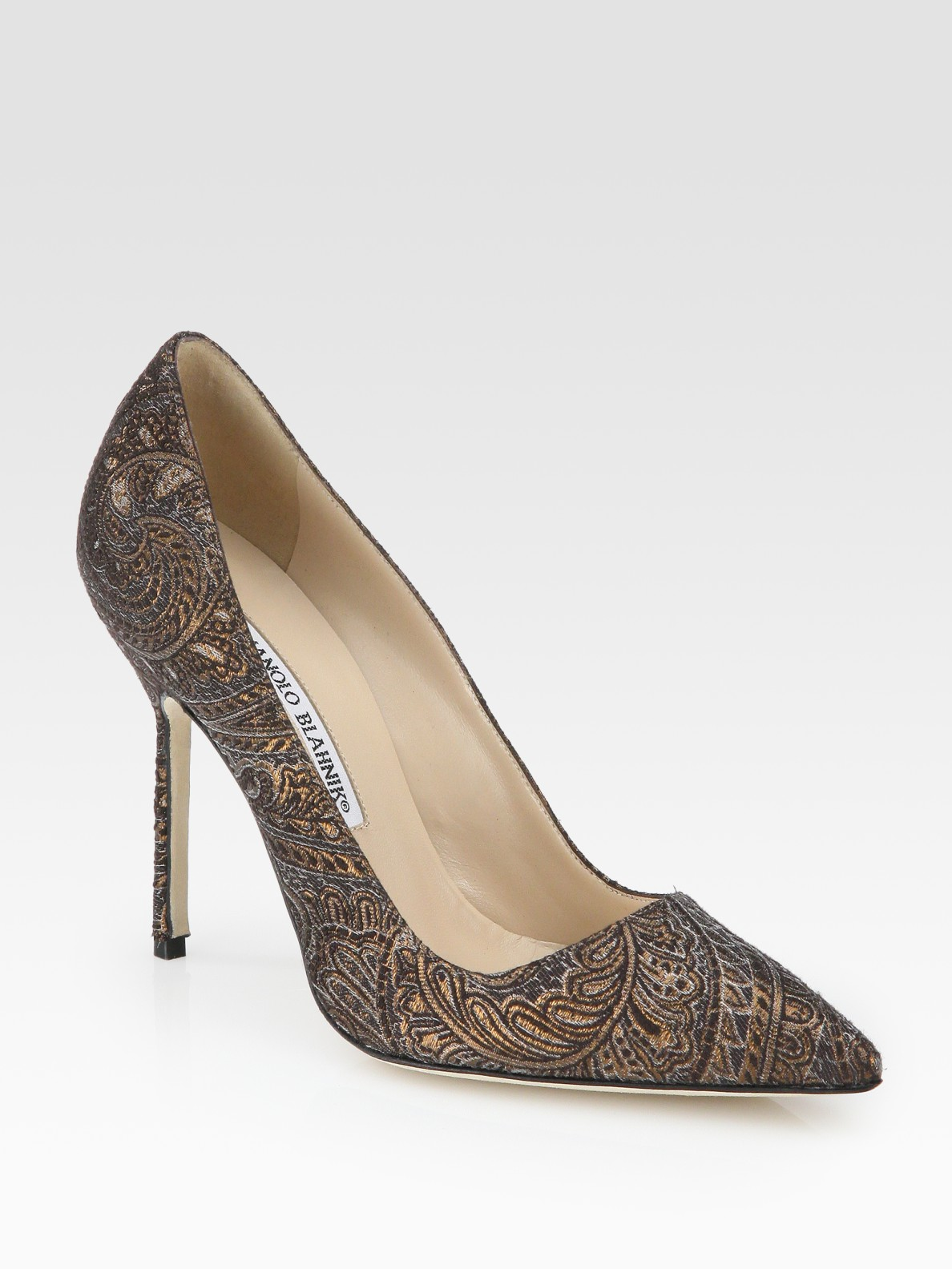 Manolo blahnik bb brocade pumps in brown black lyst for Shoe designer manolo blahnik