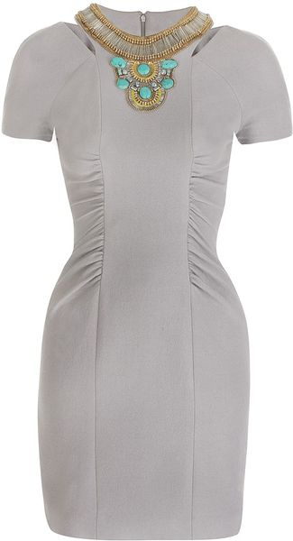 Matthew Williamson Wool Crepe Tailoring Keyhole Shift Dress in Gray (dove grey)