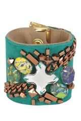 Matthew Williamson Embroidered Chain Cuff in Green (emerald green) - Lyst