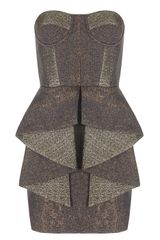 Matthew Williamson Speckled Weave Frill Bodice Dress in Brown (hazelnut) - Lyst
